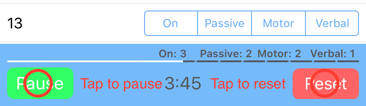 Screenshot demonstrating how to reset or pause the timer screen